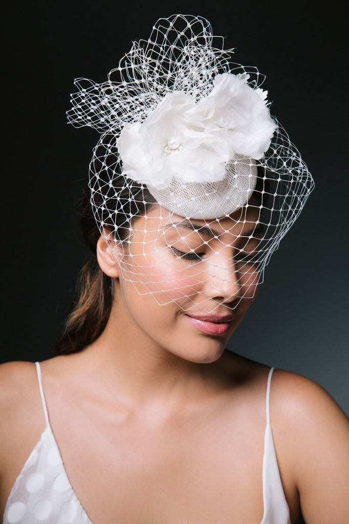 Danica Birdcage Veil Fascinator with Silk and Pearl Poppies by Genevieve Rose Atelier