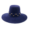 Dany Navy Felt Pilgrim Hat with Gold Studs by Genevieve Rose Atelier