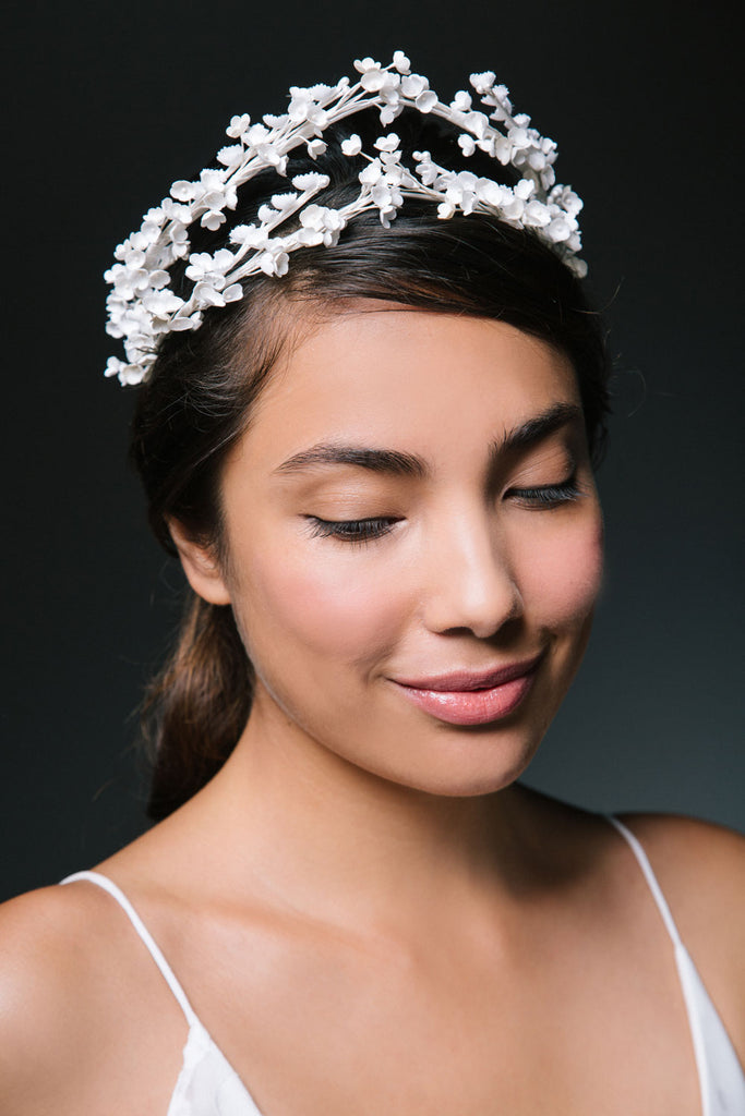 Dauphine Tiara of Tiny Vintage Flowers by Genevieve Rose Atelier