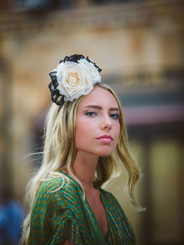 Black and White Silk Flower Headband by Genevieve Rose Atelier
