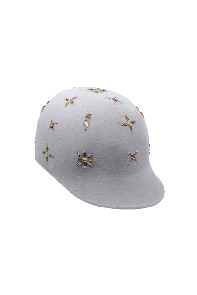 Pale Grey Felt Riding Cap with Beading by Genevieve Rose Atelier