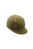 Khaki Felt Riding Cap with Chunky Beading by Genevieve Rose Atelier