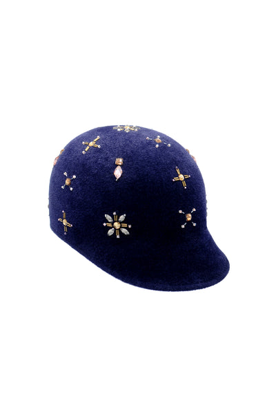 Navy Felt Riding Cap with Chunk Beading by Genevieve Rose Atelier