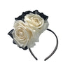 Dulcia Cream and Black Rose Derby Headband by Genevieve Rose Atelier