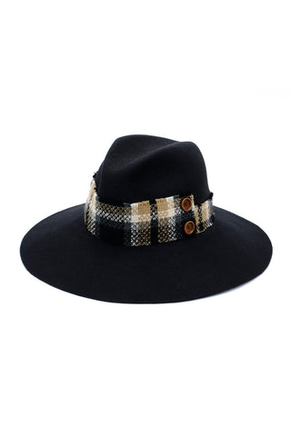 Navy Felt Large Fedora with Plaid Ribbon by Genevieve Rose Atelier
