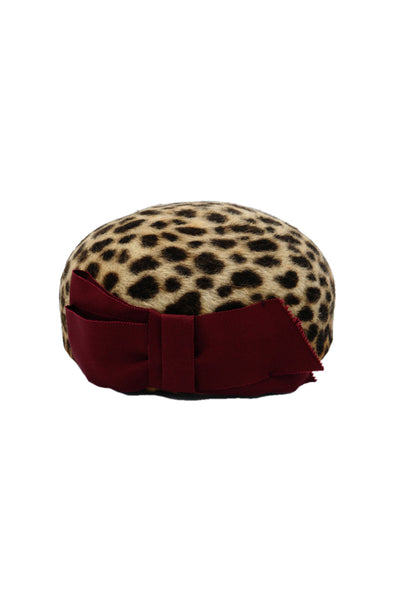 Leopard Print Pillbox Hat with Burgundy Bow by Genevieve Rose Atelier