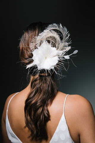 Gold Feather Bridal Comb Barrette by Genevieve Rose Atelier
