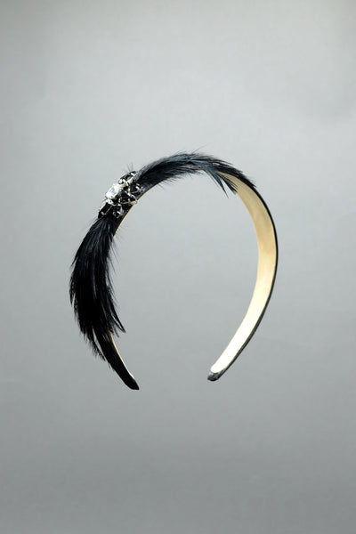 Federica Feather and Crystal Holiday Headband by Genevieve Rose Atelier