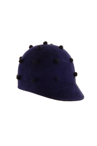 Navy Felt Riding Cap with Tiny Pompoms by Genevieve Rose Atelier