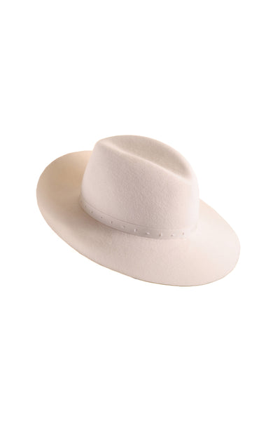 Winter White Felt Fedora Hat by Genevieve Rose Atelier