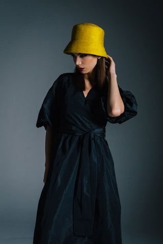 Fuzzy Yellow Felt Bucket Hat by Genevieve Rose Atelier