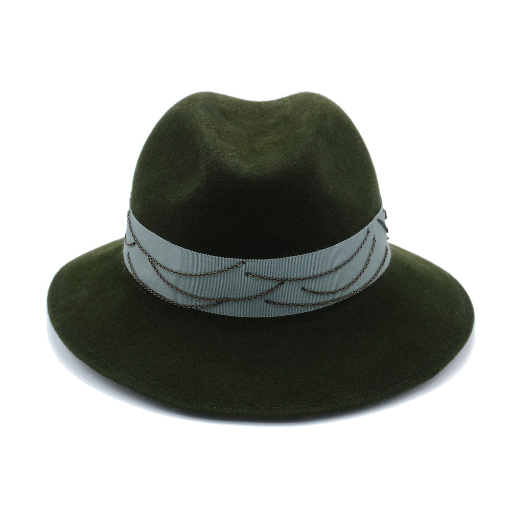 Olive Green Fedora Cowboy with Chains by Genevieve Rose Atelier