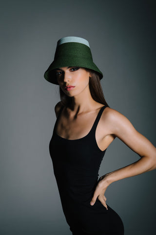 Green and Mint Straw Bucket Hat by Genevieve Rose Atelier