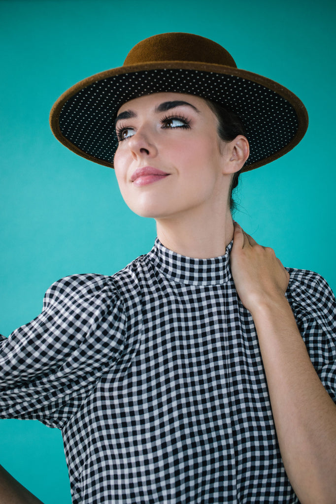 Hutton Bronze Felt Gaucho Hat with Polka Dot Under Brim by Genevieve Rose Atelier