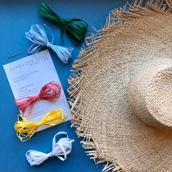 Learn Embroidery on a Hat - Genevieve Rose Atelier DIY Raffia Hat Kit
