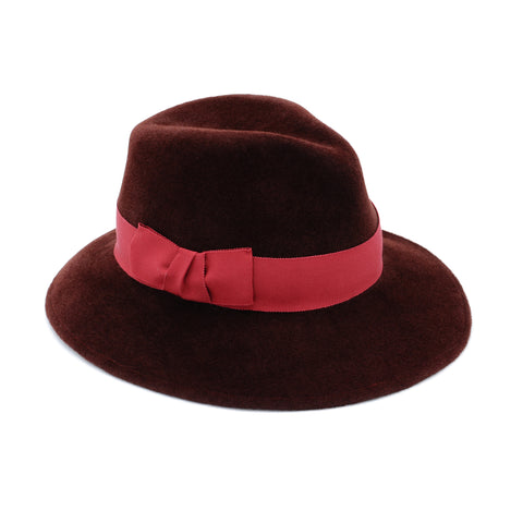 Burgundy Felt Fedora with Red Trim by Genevieve Rose Atelier