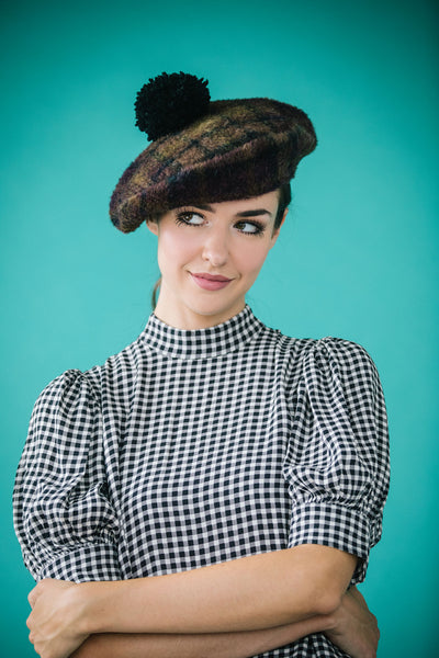 Kecia Plaid Beret with Pompom by Genevieve Rose Atelier