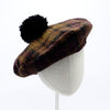Kecia: Mohair Plaid Beret with Pompom
