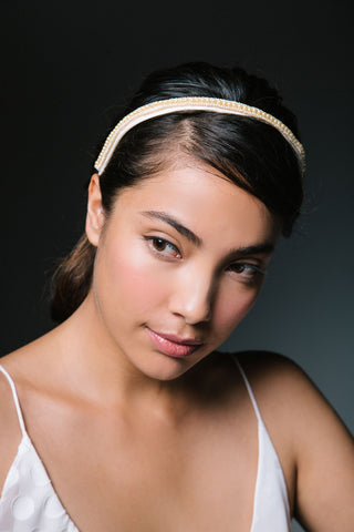 Lucrezia Silk Hairband with Vintage Pearls by Genevieve Rose Atelier