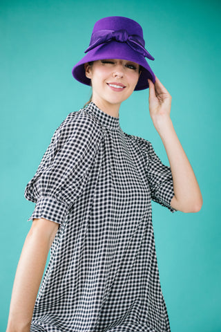 Marisa Purple Felt Bucket Hat with Silk Bow by Genevieve Rose Atelier