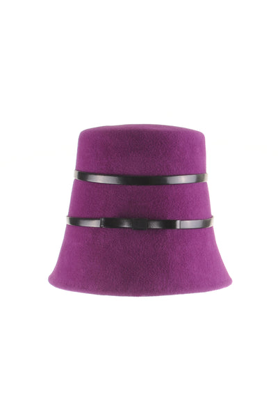 Purple Felt Cloche Hat with Leather Bows by Genevieve Rose Atelier
