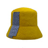Peggy: Yellow Fuzzy Bucket Hat with Blue Beaded Panel