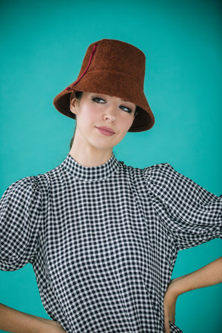 Penelope Rust Felt Bucket Hat by Genevieve Rose Atelier