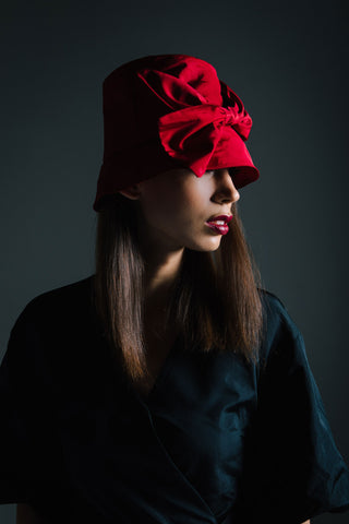 Red Rain Hat with Large Bow by Genevieve Rose Atelier