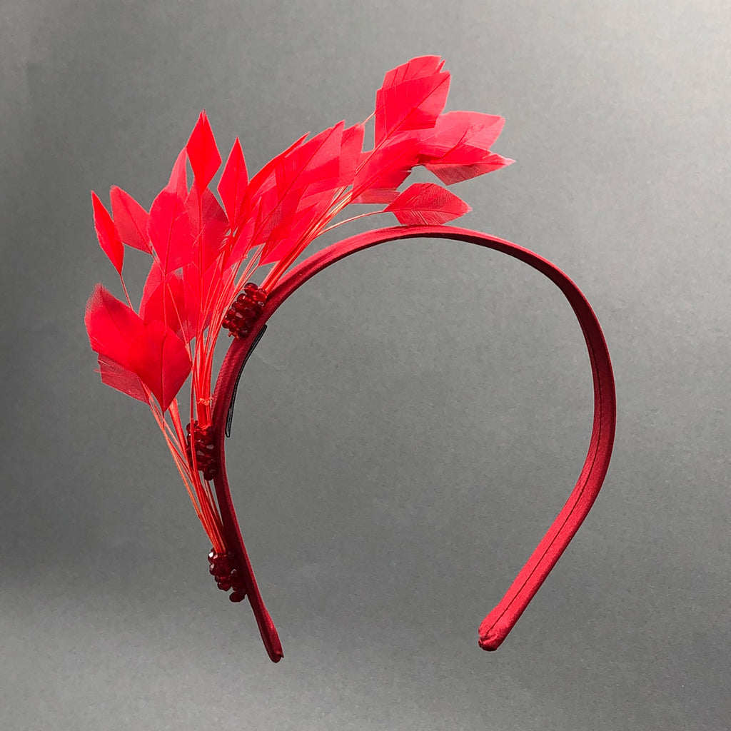 Red Feather and Crystal Holiday Hairband by Genevieve Rose Atelier
