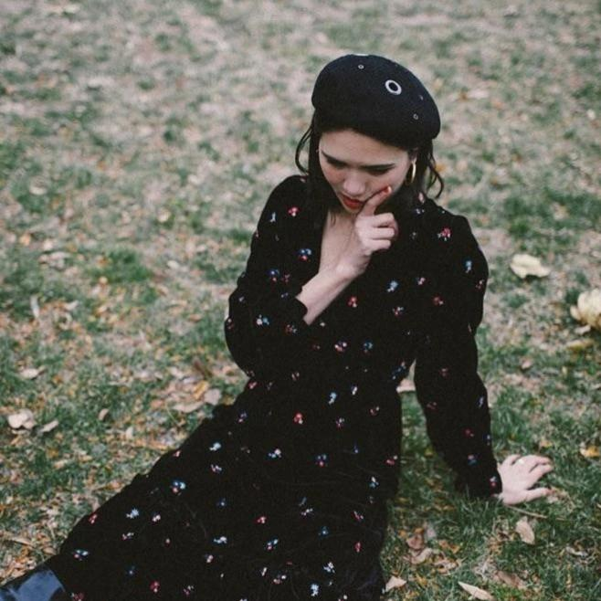 Dylana Suarez Wearing Black Beret by Genevieve Rose Atelier and Sezane