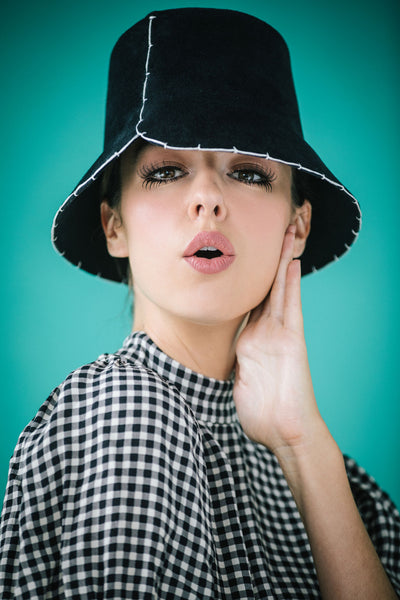 Samantha Black Felt Bucket Hat with White Blanket Stitch by Genevieve Rose Atelier