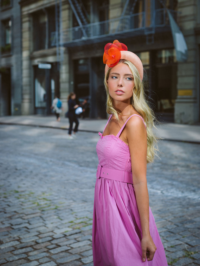 Sarazen Peach Headband Fascinator by Genevieve Rose Atelier
