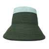 Hunter Green and Sea Foam Color Block Straw Bucket Hat by Genevieve Rose Atelier
