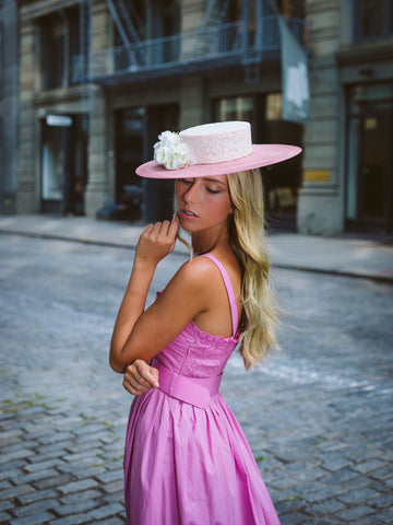 Sefton Pink and White Derby Boater Hat by Genevieve Rose Atelier
