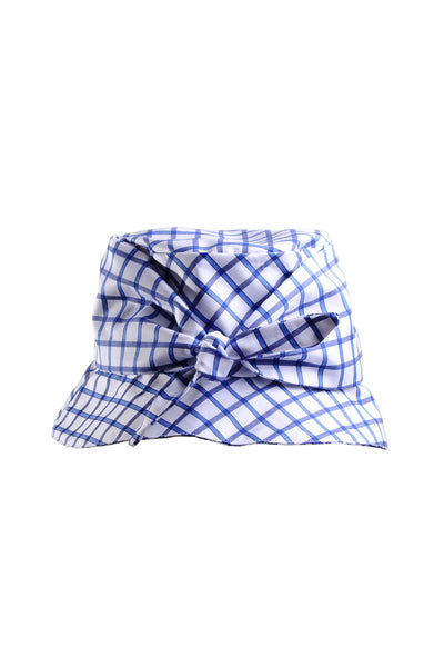 Shelley Blue and White Plaid Packable Cotton Bucket Hat with Bow by Genevieve Rose Atelier