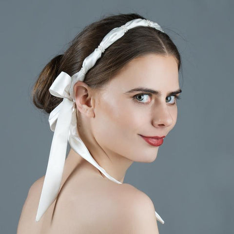 Boho Bridal Head Wrap with Pearls by Genevieve Rose Atelier