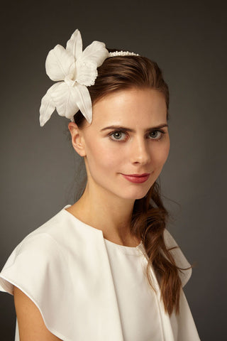 Beaded Silk Orchid Bridal Headband by Genevieve Rose Atelier