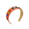 Simonetta Coral Wide Headband with Chunky Beading by Genevieve Rose Atelier