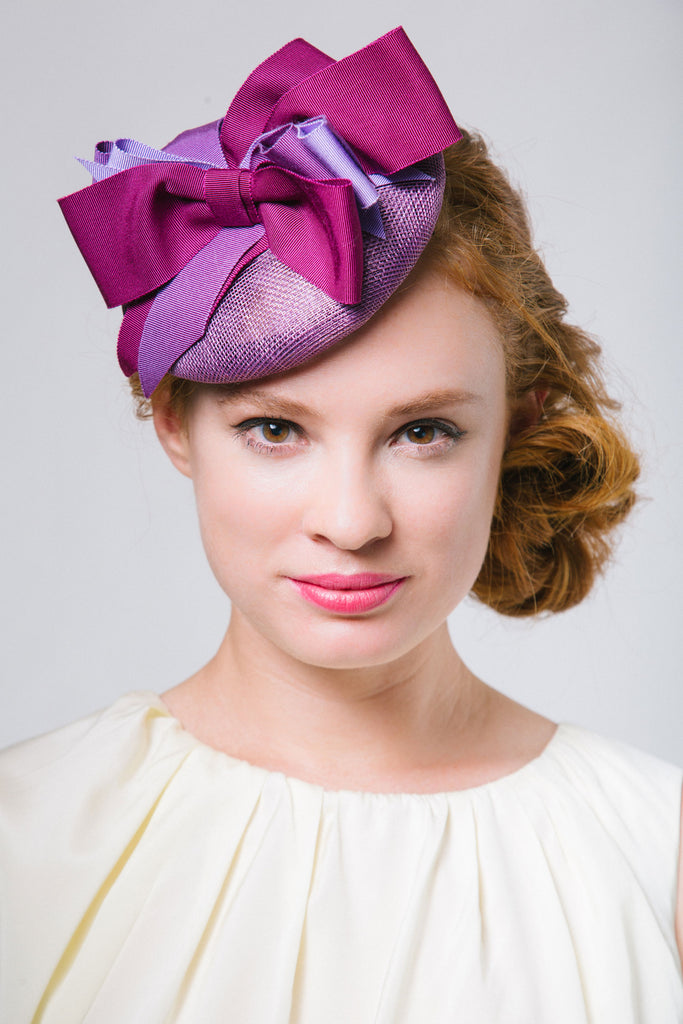 Derby Fascinator with Gros Grain bows by Genevieve Rose Atelier