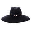 Sondra: Large Black Fedora with Beaded Organza Ribbon