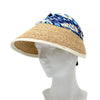 Reversible Raffia and  Cotton Sun Visor by Genevieve Rose Atelier