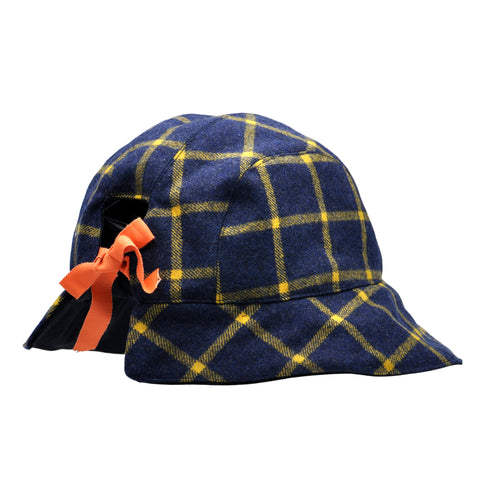 Plaid Tie Back Bucket Hat by Genevieve Rose Atelier