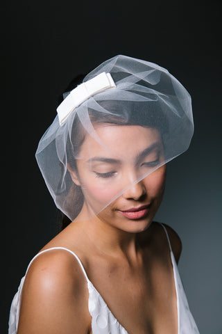 Bridal Tulle Blusher Veil with Silk Bow by Genevieve Rose Atelier