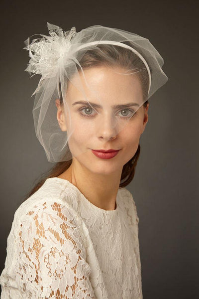 Tulle Bridal Blusher Veil with Lace Flowers by Genevieve Rose Atelier