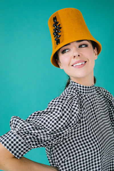 Twiggy Orange Cloche Hat with Black Beads by Genevieve Rose Atelier