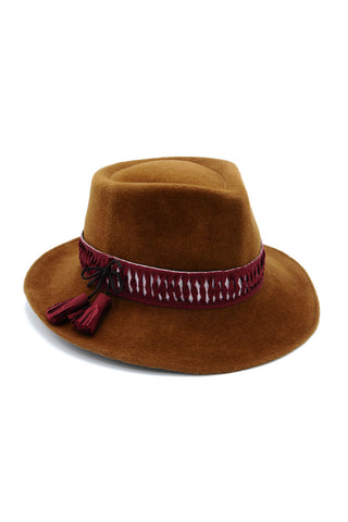 Bronze Felt Cowboy Hat with Burgundy Tassel by Genevieve Rose Atelier
