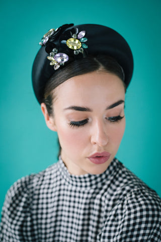 Verushka Black Satin Hatband with Chunky Beading by Genevieve Rose Atelier