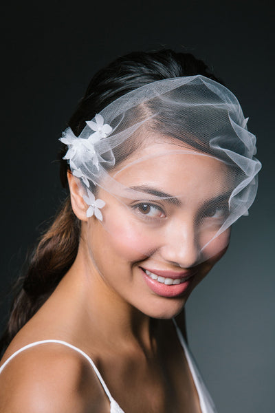Tulle Blusher Veil with Applique Silk Petals by Genevieve Rose Atelier