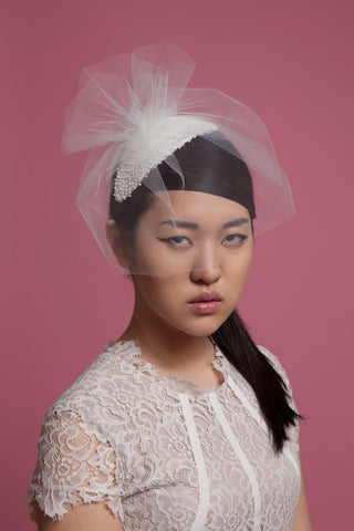 Beaded Bridal Fascinator with Short Tulle Veil by Genevieve Rose Atelier