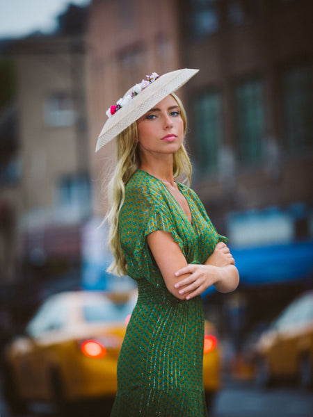 Natural Straw Mesh Derby Hat by Genevieve Rose Atelier